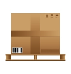 Brown carton box wooden pallet vector
