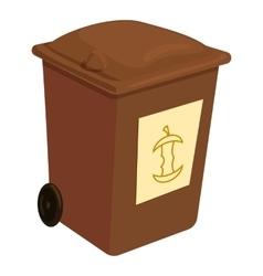 Brown trashcan icon cartoon style vector