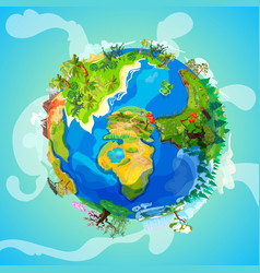 cartoon earth planet light concept vector image