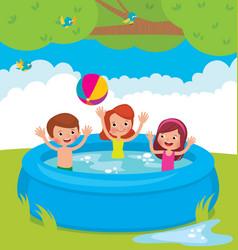 cartoon of children bathing in an vector image