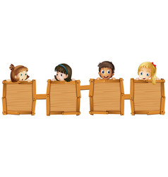 children holding blank wooden boards vector image