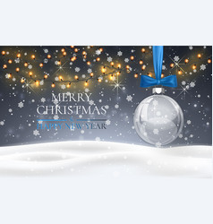 christmas ball with blue bow snowy night woodland vector image