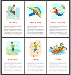 Climbing and bungee jumping rafting poster set vector