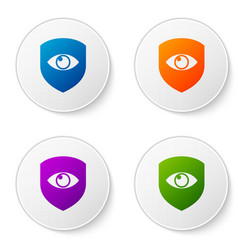 color shield and eye icon isolated on white vector image