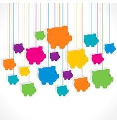 colorful hang piggy bank background design vector image