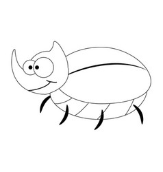 colorles funny cartoon rhinoceros beetle vector image