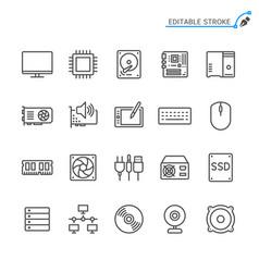 computer parts line icons editable stroke vector image