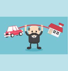 Concept cartoon elderly businessmen who shows a vector