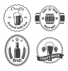 Craft beer brewery badges and logo vector image