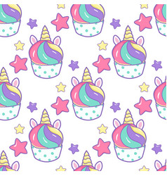 cupcake unicorn kawaii magic food seamless vector image
