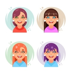 Cute girl avatar icons set flat design vector image