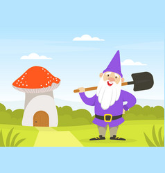 cute gnome standing with shovel next mushroom vector image