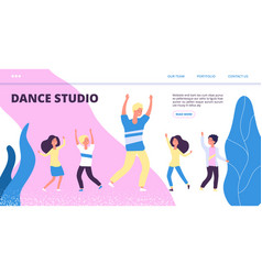dance studio landing page happy dancing vector image