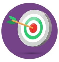 Dart arrow hitting center target vector image