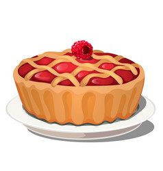 delicious fresh berry pie with raspberry on top vector image