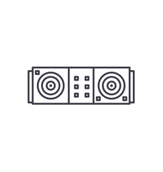 dj desk line icon concept dj desk linear vector image