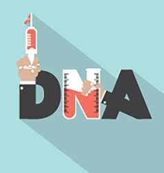 DNA With Syringe Typography Design vector image