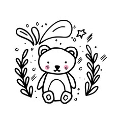 Doodle hand drawn with baby bear vector