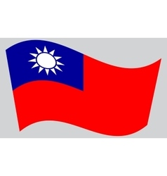 Flag of Taiwan waving on gray background vector