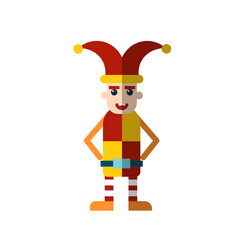 Flat icon royal jester fool in funny vector
