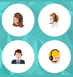 Flat telemarketing set of service call center vector