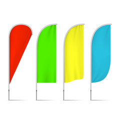 four colored beach flag isolated on white vector image