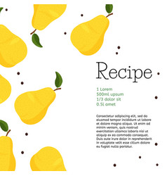 Fresh yellow pear design template bright summer vector