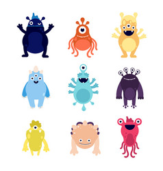 funny monsters cute baby monster aliens bizarre vector image