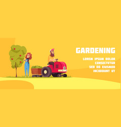 gardening horizontal cartoon banner vector image