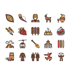 georgia color linear icon set georgian culture vector image