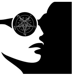 Girl with wiccan symbol- sigil baphomet vector