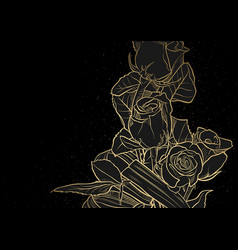 Golden drawing roses bouquet on black vector