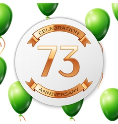 Golden number seventy three years anniversary vector image