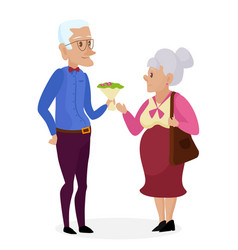 Grandpa gives flowers to grandma happy vector