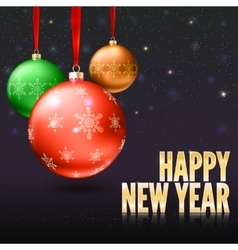 Greeting card with Christmas balls and bright vector image