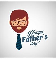 greeting fathers day card man bearded with tie vector image