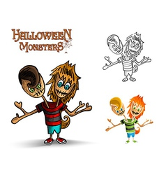 Halloween monsters spooky two heads zombie EPS10 vector