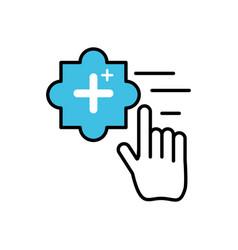 Hand cursor index with add pluss symbol vector