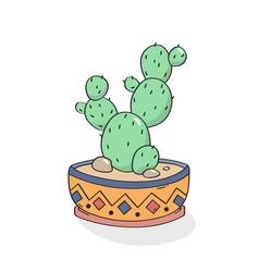 hand drawn cactus print vector image