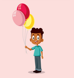Happy african boy holding balloons vector