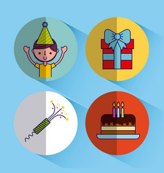 happy birthday related icons image vector image