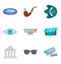 Hidden camera icons set cartoon style vector