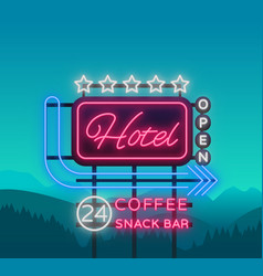 Hotel is a neon sign retro vector