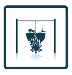 Icon of fire and fishing pot on gray background vector