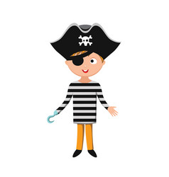 Kid pirate costume festival superhero character vector