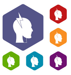 Lightning bolt inside head icons set hexagon vector