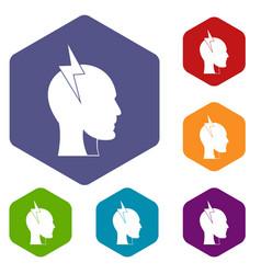Lightning bolt inside head icons set hexagon vector