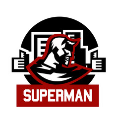 logo superman superhero costume cape town vector image