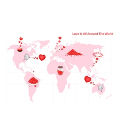 Love Is All Around The World and People vector image