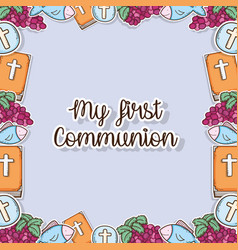 My first communion traditional background design vector